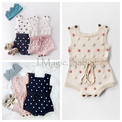 Baby Toddler Girl Knitted Knit Crochet Pom Pom Romper Jumpsuit Bodysuit Outfit
