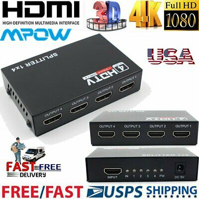MPOW HD HDMI Splitter 1X4 4 Port Hub Repeater Amplifier v1.4 3D 1080p 1 in 4 out
