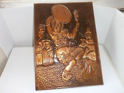 ANTIQUE VINTAGE RUSSIAN SOVIET COPPER  PICTURE - Dancing Woman, Girl