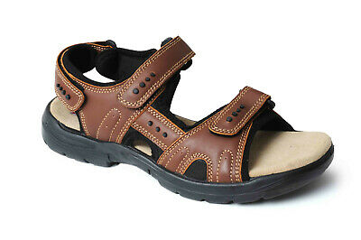 Mens Brown Mohac Soft Leather Sports Sandals Adjustable Straps Catesby 32011
