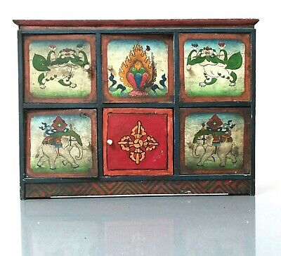 Vintage Indian Furniture. Small, Hand-Decorated 6 Door Cabinet. Buddhist, Nepal.