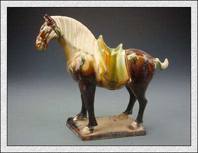 Nice Wonderful Chinese Tang SanCai Red Glaze Horse Statues