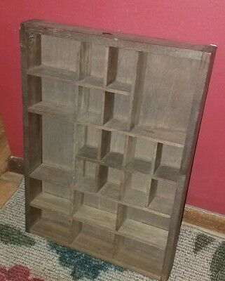 Nice Vintage Rustic Wooden Shadow Box Wall Shelf W 22 Compartments