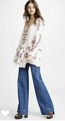 67545d6a4a8 $148 Free People Arianna Embroidered Flowy Tunic Top Dress S Ivory Boho  Peasant