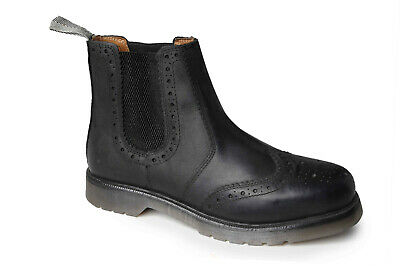 3989aca09a7 MENS BLACK WAXY Leather Chelsea Brogue Dealer Boots Cushioned Airsole  Catesby 02