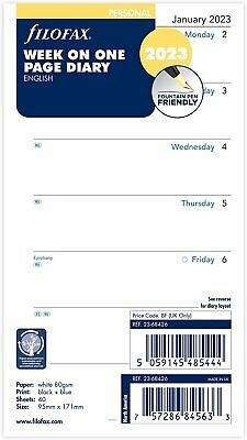 Filofax 2020 Personal size Diary Week on One Page Insert Refill 20-68426