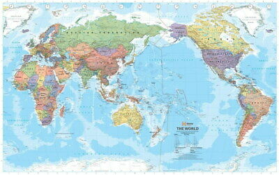 210342 WORLD MEGA MAP PACIFIC CENTERED POLITICAL Decor Wall PRINT UK