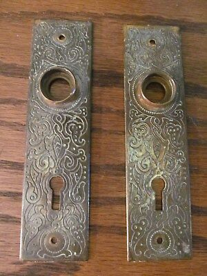 Antique Door Back Plates Etched Iron Ornate Victorian Eastlake Brass Finish