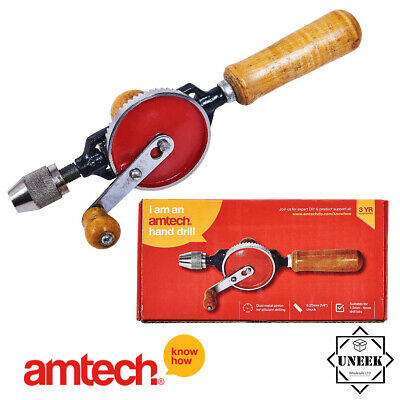 "Hand Drill Double Wooden Handle Pinion 1/4"" Chuck Drilling Crank Amtech F0300"