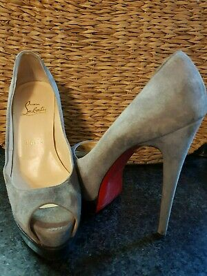 9d66aff2877 Christian Louboutin 140mm Plato Suede Leather Peep Toe Pumps Heels Eu Sz  37.5