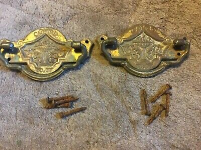 Victorian  Brass CHEST OF DRAWERS Handles. X 2 with fixing screws