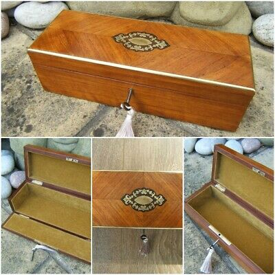Terrific 19C French Kingwood Antique  Document/Jewellery Box - Fab Interior