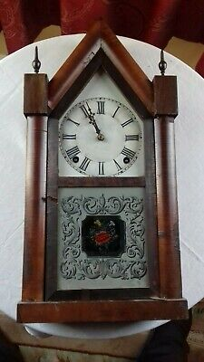 Antique. American.  ' E N Welch ' 8 day steeple clock
