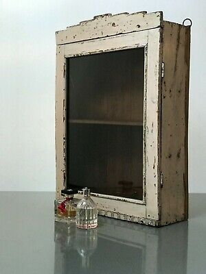 Large Antique Vintage Indian Art Deco Display Bathroom Cabinet. Powder Pink.
