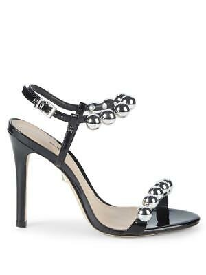 9225ef8fce3 Schutz Nellie Black Patent Leather High Heel Single Sole Pearl Detail Sandal