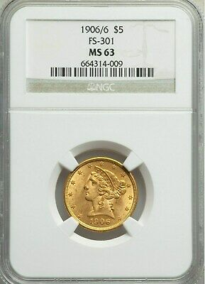 1906/6 $5 Liberty Head Half Eagle Gold Coin Ngc Mint State 63, Fs-301