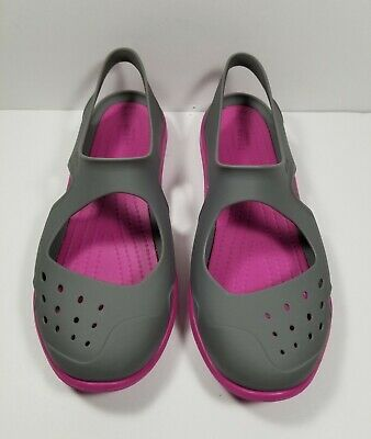5cb931f88358f3 Crocs Swiftwater Wave Water Shoes Slip-on Sandals Women s Sz 6 Pink Gray