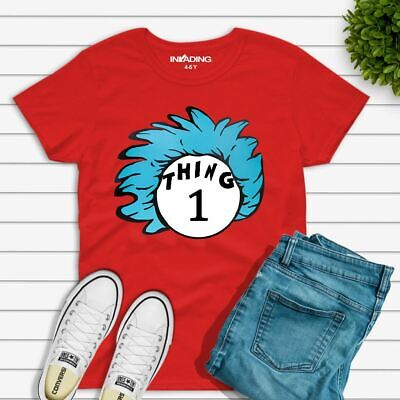 Adults Kids Childrens DR SEUSS T-Shirt Cat In The Hat Thing World Book Day Top