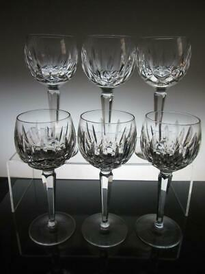 "Set of Six (6) Stunning Waterford Crystal ""LISMORE"" Hock Glasses 6 7/8"" (1st)"