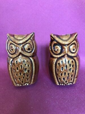 """Two 3"""" Tall Vintage Ceramic Macrame Beads Brown Owls New Old Stock"""