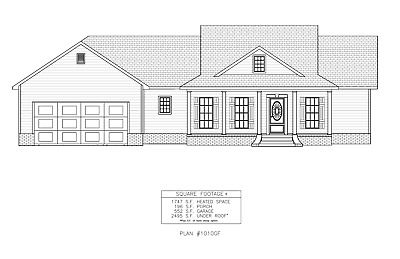 Ranch House Plans 1747 SF 3 Bed 2 Bath Open Floor Split Bedrooms (Blueprints)