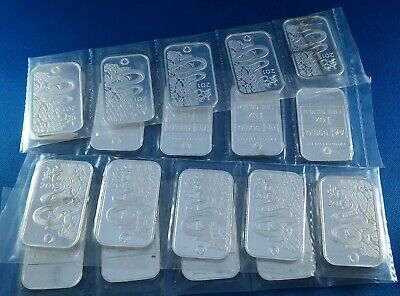 Lot of 20 Sealed 2013 Rand Lunar Year of the Snake 1 Ounce .999 Silver Art Bars