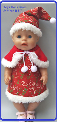 """Baby Born Doll Clothes To Fit 17""""/43cm Doll Red Christmas Dress Cape & Hat Set"""