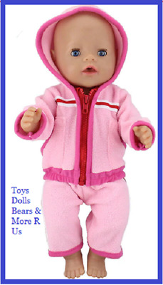 """Baby Born Doll Clothes To Fit 17""""/43cm Doll  Pink 2 Piece Tracksuit Set"""