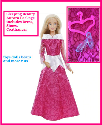 New Barbie Doll Clothes Aurora Sleeping Beauty Dress Shoes Hanger Set Outfit