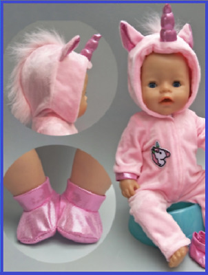 """Baby Born Doll Clothes To Fit 17""""/43cm Doll Pink Velour Unicorn Romper Set Shoes"""