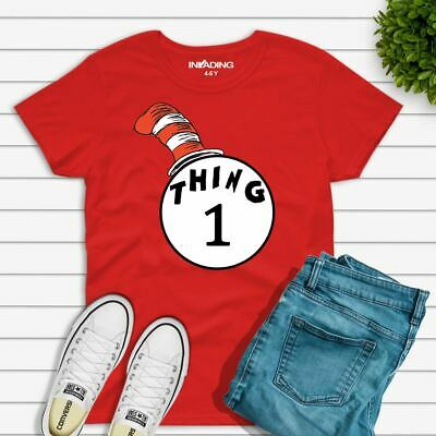 Dr Seuss Cat In The Hat Thing 1 And Thing 2 T-Shirt Kids And Adult T-Shirt
