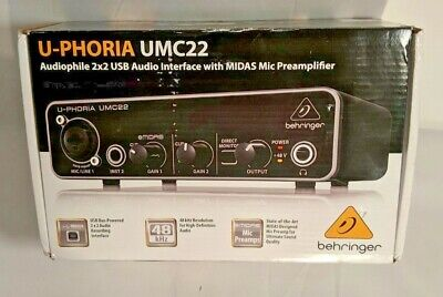 Behringer UMC22 U-PHORIA Audio Interface Audiophile 2x2 USB Audio Interface
