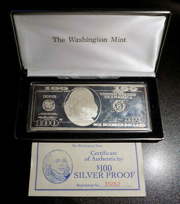 1996 $100 Federal Reserve Note Paper Currency Styled 4 oz .999 fine silver bar