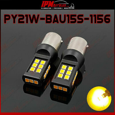 2x PY21W BAU15S 1156 Set LED Bulbs Amber Orange Rear Blinker Index Light CANBUS