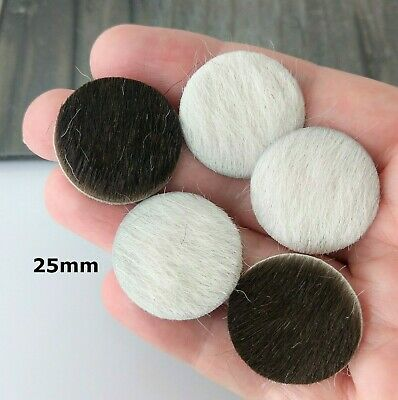 1x 25mm Leather Circle Hair on Cowhide Genuine Leather Round Cabochon