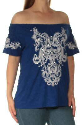 1441acb99f94b2 INC  69 Womens New 1137 Blue Beaded Embroidered Off Shoulder Top M B+B