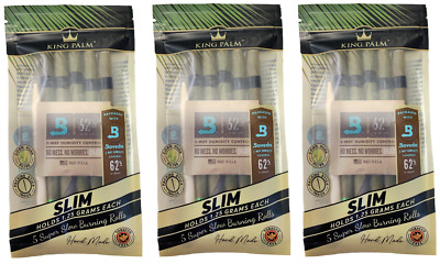 5 x King Palm Natural Blunt Wraps 5 SLIM Rolls + Boveda Humidity Control