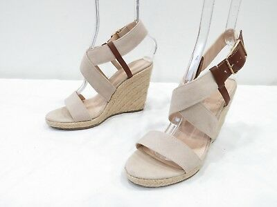 0d6dae6545a Banana Republic Espadrille Sandals Womens 8 Beige Canvas Platform Wedge  Heels