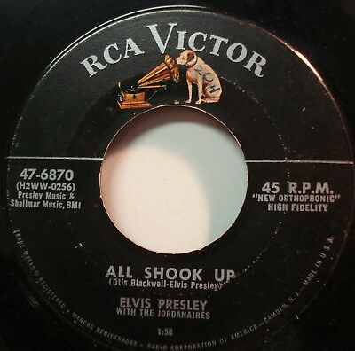 """ELVIS PRESLEY """"All Shook Up"""" U.S.A. 45rpm Record Free Shipping in Canada"""