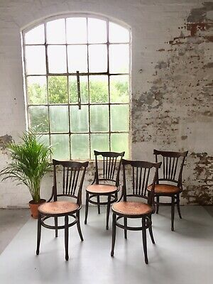 A Set Of 4 Antique Rustic French Bentwood Dining Chairs | Vintage Dining Chairs
