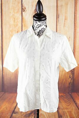 cdf3d99599a Van Heusen White Collared Button Up Floral Eyelet Career Blouse Size L A11