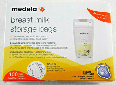 Medela Breast Milk Storage Bags 6 oz 100 ct with Bonus Transport Pouch Free Ship