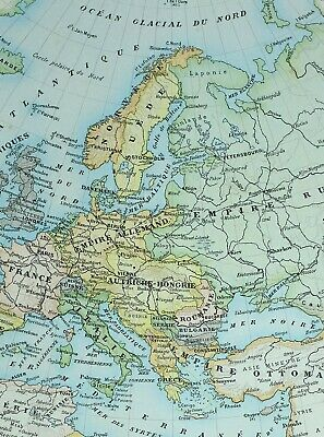 1905 Map Europe France Spain Ottoman Empire Russia Italy Norway Sweden Iceland