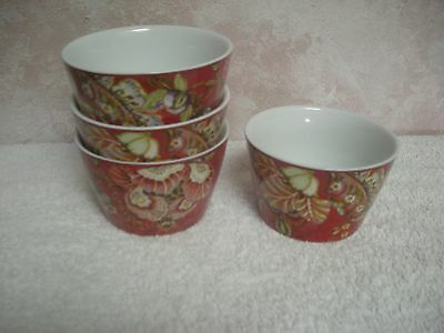222 Fifth  Gabrielle Red Set Of 4 New  Bowls China