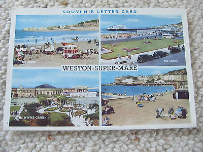 Vintage View Folder J.Salmon Foldout lettercard Weston-Super-Mare  UK circa 1940