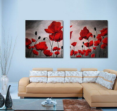 Art wall Home Decor Modern prints oil painting canvas Abstract poppy Flowers 861