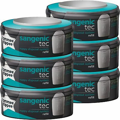 6 Tommee Tippee Sangenic Tec Nappy Bin Disposal System Cassette Refill Cartridge