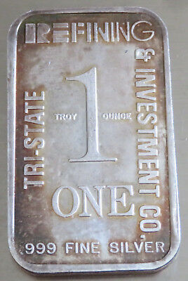 1980 Tri-State Refining Investment Co .999 Fine Silver Art Bar 1 Troy Oz Toned