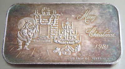 Crown Mint 1981 Santa Claus Art Bar Merry Christmas  1 Troy Oz .999 Fine Silver