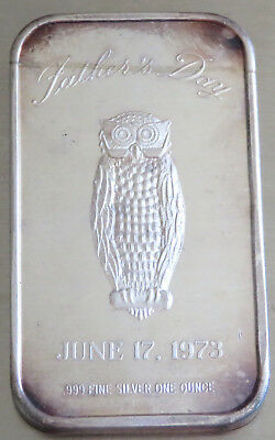 1973 Father's Day Owl Art Bar .999 Fine Silver Toned 1 Oz Madison Mint